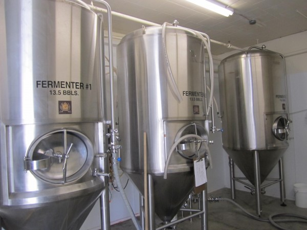 The fermentation tanks for the brewery in Orono.