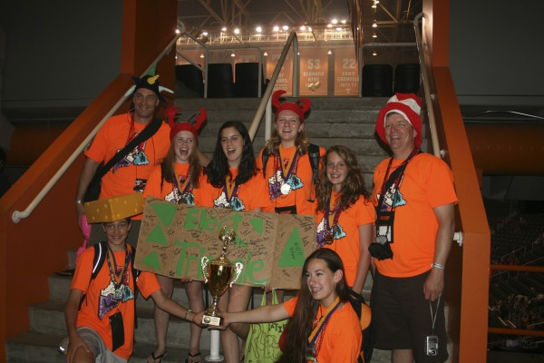 The Destination ImagiNation team from Orono Middle School, the DI Challengers, took first place at the Destination ImagiNation Globals, held May 25-28 at the University of Tennessee in Knoxville, Tenn. Members from left to right are David Koffman, Jake Koffman, Anna Webber, Katie Sypher, Emma Peterson, Lily Koffman, Emily Noyes and Scott.