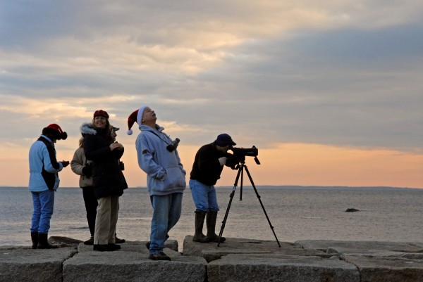 (13) Diane Ober of Rockport, Paul and Kristen Lindquist of Camden (in back), Sarah Greene of Winterport, Brian Willson of Rockport and Ron Joseph of Orono, who works for the U.S. Fish and Wildlife Service, start out along the Rockland Breakwater to count birds for the Audubon Christmas Bird Count in 2006. For two days in June, Mainers and visitors have the opportunity to go inside seven lighthouses in the midcoast.  For information, visit www.rocklandlighthouse.com/challenge.html.