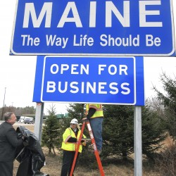 LePage unveils 'Open for Business' sign on I-95
