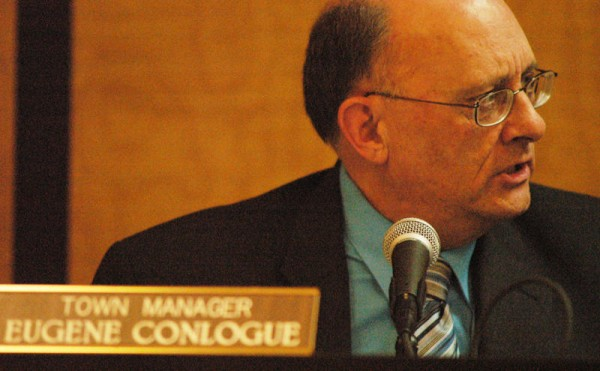 Millinocket Town Manager Eugene Conlogue is shown at a Town Council meeting in 2010.