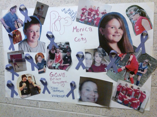 A poster hangs in the hallway of the Ridge View Community School in Dexter showing a montage of photos honoring Monica and Coty  Lake, on Tuesday, June 14, 2011. Both children, ages, 12 and 13 were shot and killed along with their mother, Amy Lake, by their father, Steven Lake, on Monday at their home. Steven also took his own life.