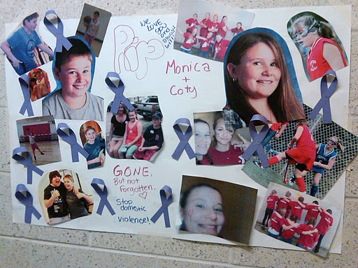 A poster hangs in the hallway of the Ridge View Community  School in Dexter, showing a collage of photos honoring Monica and Coty  Lake, on Tuesday, June 14, 2011. Both children, ages, 12 and 13 were shot and killed along with their mother, Amy Lake, by their father, Steven Lake, on Monday at their home. Steven also took his own life.