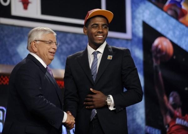 NBA Commissioner David Stern (left) poses with the No. 1 overall draft pick, Kyrie Irving of Duke, who was selected by the Cleveland Cavaliers in the NBA basketball draft   Thursday, June, 23, 2011, in Newark, N.J.