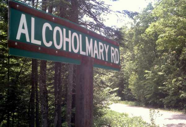 The sign for Alcohol Mary Road in Greenwood is a source of frustration  for the Hertell family, whom some people believe are the descendants of the road's namesake. The Greenwood Board of Selectmen voted Tuesday not to change the road's name.