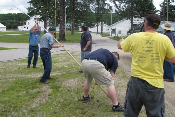Members of the Oxford County Amateur Radio/Community Emergency Response Team set up a square-loop antenna during Field Day at the Fryeburg Fairgrounds on Saturday. Members set up to contact other ham radio operators across the country for 24 hours during the contest.