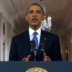 President Barack Obama delivers a televised address from the East Room of the White House in Washington, Wednesday, June 22, 2011 on his plan to drawdown U.S. troops in Afghanistan.
