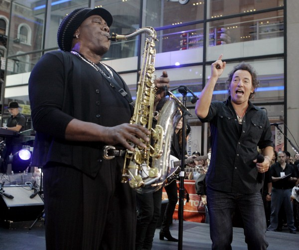 In this Friday Sept. 28, 2007 file picture, Clarence Clemons, left, and Bruce Springsteen, right, perform on the NBC &quotToday&quot television program in New York's Rockefeller Center. A spokeswoman for Bruce Springsteen and the E Street Band says saxophone player Clarence Clemons has died in Florida at age 69 on Saturday, June 18, 2011.