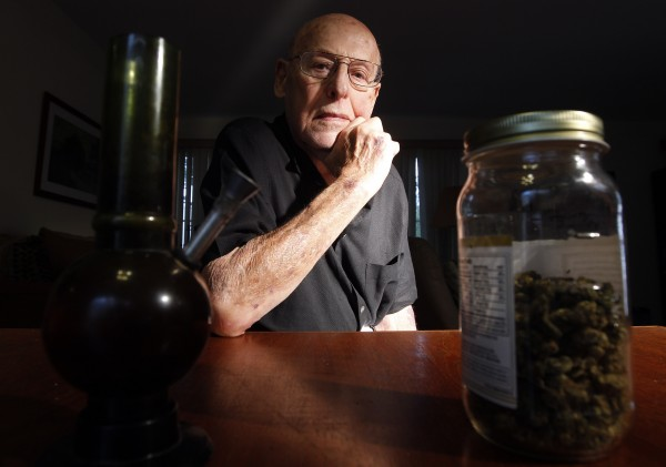 Medical marijuana user Joe Schwartz, 90, poses for a picture at his home in Laguna Woods, Calif., Wednesday, June 1, 2011. Schwartz is a 90-year-old great-grandfather of three who enjoys a few puffs of pot each night before he crawls into bed in the Southern California retirement community he calls home.