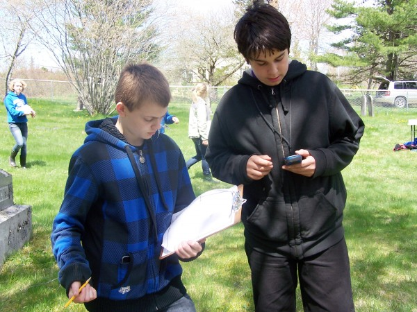 For his AmeriCorps Week project, James Westhafer worked with middle school students from Islesboro Central School at a local cemetery mapping the unmarked graves.