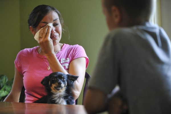 Seated with her longhaired Chihuahua, Gizmo, one of the family's other dogs, Jennifer Fall emotionally recounts their finding Hank, the family's chocolate Labrador retriever, near death at their back door in Palmyra on Monday evening, the victim of an apparent shooting. Seated on right (in foreground) is her son Bryce, 8.