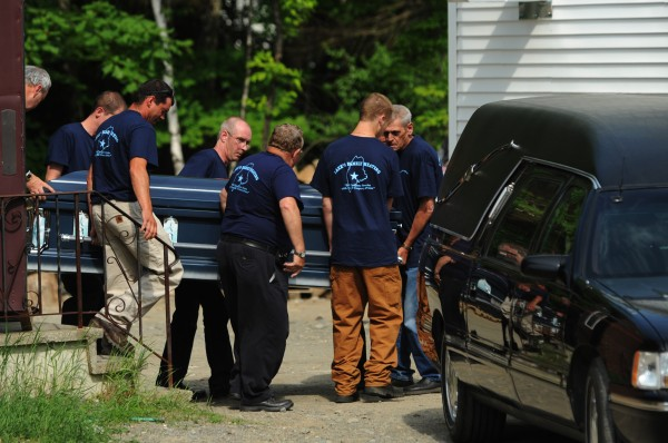 Family and friends of Steven Lake carry his casket from the Trinity Evangelical Free Church in Skowhegan on Friday, June 17, 2011, to a waiting hearse. Lake shot and killed his wife Amy and their children, Monica, 12, and Coty, 13, before killing himself on Monday, June 13, 2011 in Dexter.
