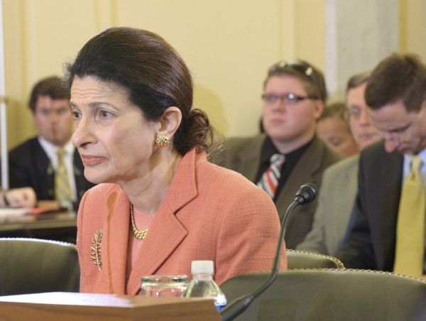 Zach Parker of Frankfort (third from left) listens as U.S. Sen. Olympia Snowe testifies Wednesday during a Veterans' Affairs Committee hearing in favor of her bill to protect military funerals from disruptions.