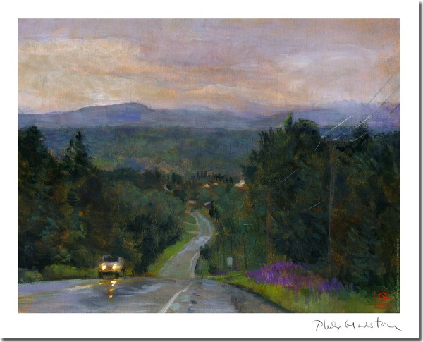 "Artwork in the Pine Tree Hospice silent auction includes ""The Road from Rangeley, Maine, in the Rain"" by Philip Gladstone."