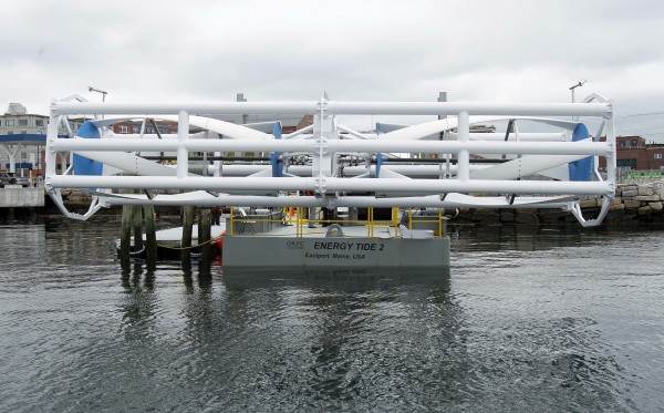 The Energy Tide 2, the largest tidal energy turbine ever deployed in the U.S., is seen on a barge Monday, June 13, 2011, in Portland. The vessel and turbine are owned by Ocean Renewable Power Co. and are home-ported in Eastport, where Ocean Renewable's prototype underwater power system is scheduled to be connected to the region's electrical grid by the end of the year.