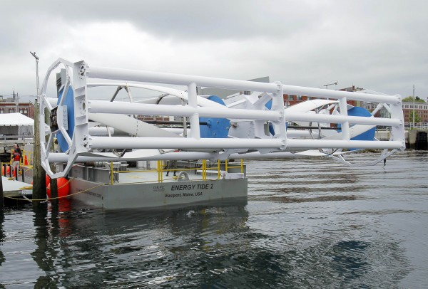 The Energy Tide 2, the largest tidal energy turbine ever deployed in the U.S., is seen on a barge Monday, June 13, 2011, in Portland. The vessel and turbine are owned by Ocean Renewable Power Co. and are home-ported in Eastport, where Ocean Renewable's prototype underwater power system is scheduled to be connected to the region's electrical grid by the end of the year. The 150-kilowatt unit will power up to 60 homes, and the company plans to install more units in the years ahead.