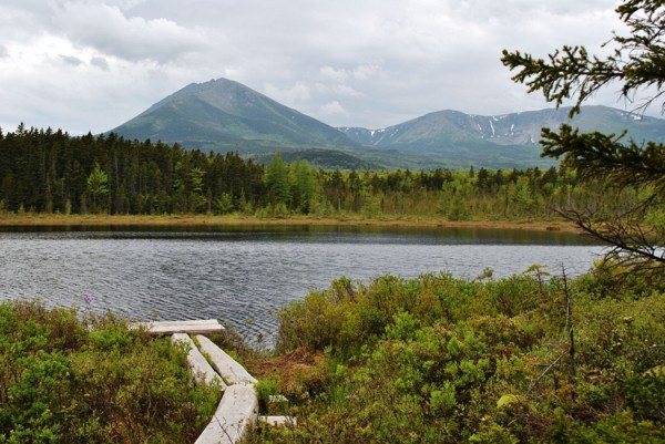 The canoe dock at Martin Ponds lean-to invites paddlers. Baxter State Park provides a canoe, paddles and life jackets for visitors to use.