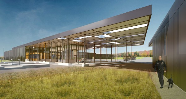 Architect's rendering of the new Van Buren port of entry slated for completion in July 2013.