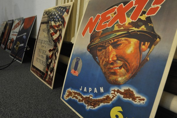 These World War II posters are some of the nearly 800 posters that have been in the Bangor Public Library collection for decades. Since this winter, Bangor-based photographer James Daigle has been collaborating with the University of Maine's Fogler Library to digitize most of these posters which span World War I and World War II. Bangor Public Library plans to unveil his collection of digital images of these posters on Veterans Day --November 11, 2011. Prints of the posters will eventually be for sale. Eugene Daigle ( James Daigle's brother) and Barbara Daigle of Bangor--both miltary veterans, are funding the digitization project.