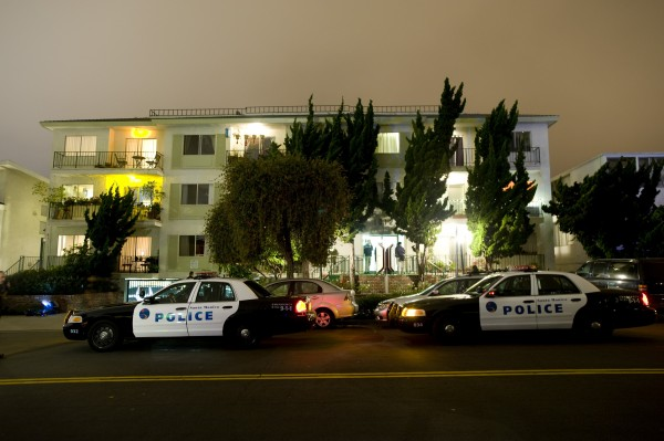 "Police and FBI surround the apartment building in Santa Monica, Calif., where fugitive crime boss James ""Whitey"" Bulger and his longtime companion Catherine Greig were arrested, Wednesday evening, June 22, 2011. The two were arrested without incident, the FBI said. Bulger was the leader of the Winter Hill Gang when he fled in January 1995 after being tipped by a former Boston FBI agent that he was about to be indicted."