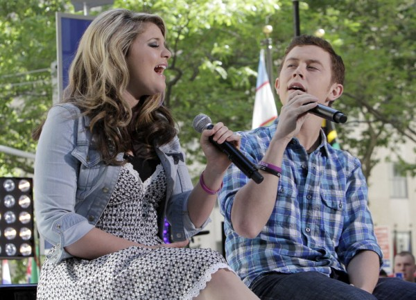 "Scotty McCreery, the winner, and Lauren Alaina, the runner-up of the latest ""American Idol"" competition, perform on the NBC ""Today"" television program in New York on Thursday, June 2, 2011."