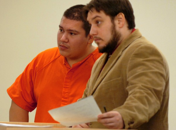 Albert J. Harnois III, 28, of Greenbush was sentenced Thursday at the Penobscot Judicial Center to eight years in prison with all but 3 ½ years suspended for the February robbery of the People's United Bank inside a Milford convenience store. Harnois is seen here in February at the Penobscot Judicial Center with his attorney Joseph Belisle.