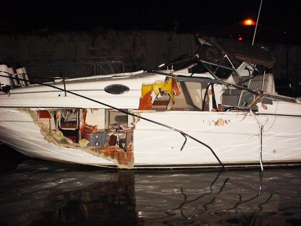 This 30-foot powerboat collided with another vessel at night on Missouri's Lake of the Ozarks. BoatUS says boaters will need to be extra vigilant boating over the July 4th holiday weekend, especially after the sun goes down.