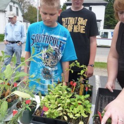 Auburn Middle School students creating a garden