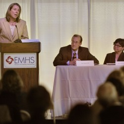 Michelle Hood, CEO and Pres of Eastern Maine Healthcare, moderates a forum discussing a partnership with the U.S. Dept. of Health and Human Services to improve patient care in area medical facilities. Photo taken in Brewer on Monday, June 13, 2011.