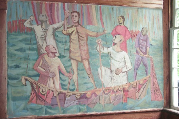 (9) This fresco of Jesus preaching from a fishing boat was painted on the walls of the South Solon Meeting House by Sidney Hurwitz in 1956. In the 1950s, a group of artists from the nearby Skowhegan School of Painting transformed the interior with huge, luminous frescoes, a medium rarely seen in contemporary art. For information, visit southsolonmeetinghouse.org.