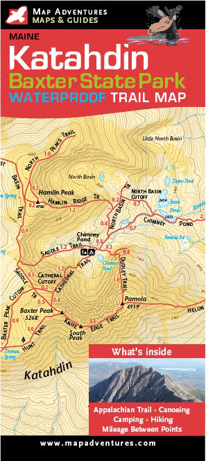 A new Katahdin and Baxter State Park map by Map Adventures. 27 inches by 19.5 inches unfolded, 4 inches by 9 inches folded; $9.95