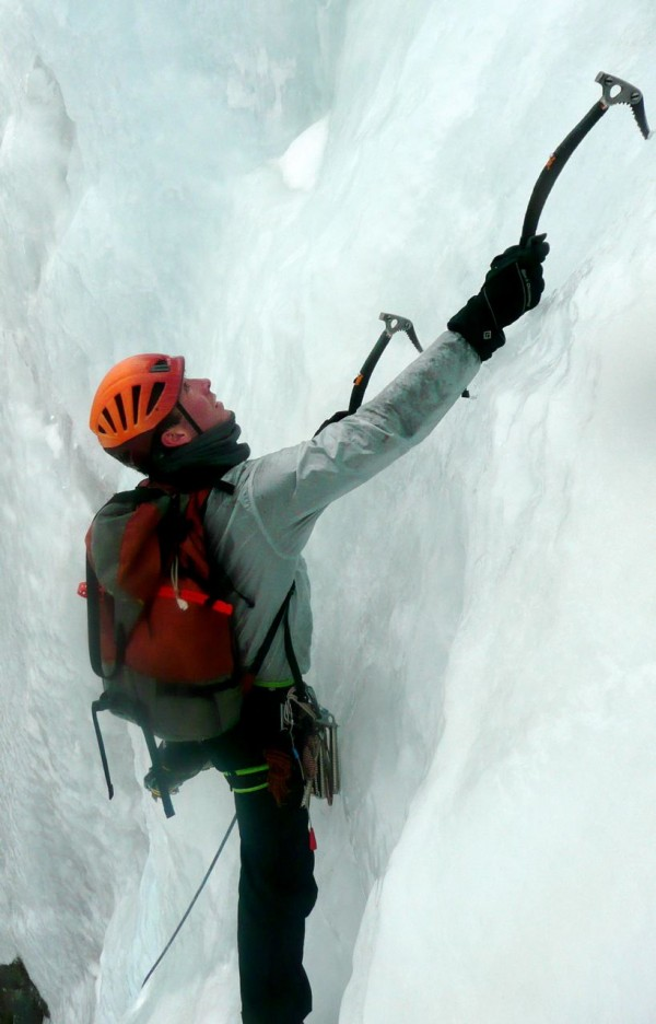 Silas Rossi guiding ice climbing on Katahdin, Maine's highest mountain.