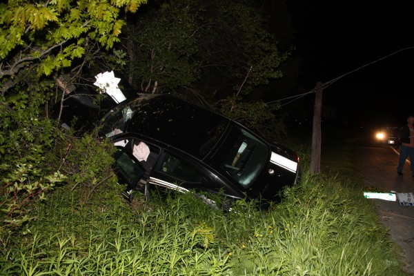 Knox County Sheriff's Deputy escaped serious injury when he misjudged a corner during a car chase Monday morning.