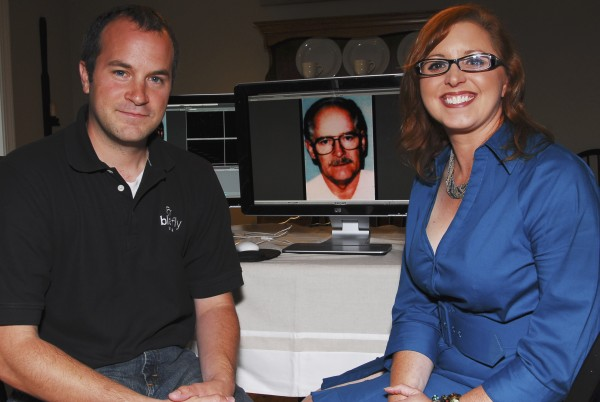 "Charlie Berg, president of Blackfly Media, and Angela Helton, president of Northeast Media Associates, in the impromptu Saco dining room video editing suite where they worked with FBI agents to produce the PSA that led to the Thursday capture of fugitive mobster James ""Whitey"" Bulger. Thursday, June 23, 2011."