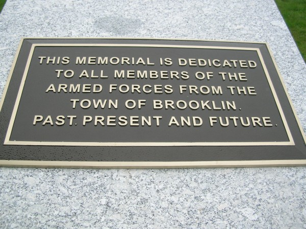 Brooklin residents will dedicate a newly installed veterans' memorial on the Fourth of July. The memorial, located in front of the town office building, recognizes members of the armed forces from Brooklin, past, present and future.