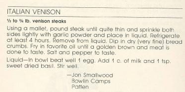 Recipe for Italian Venison