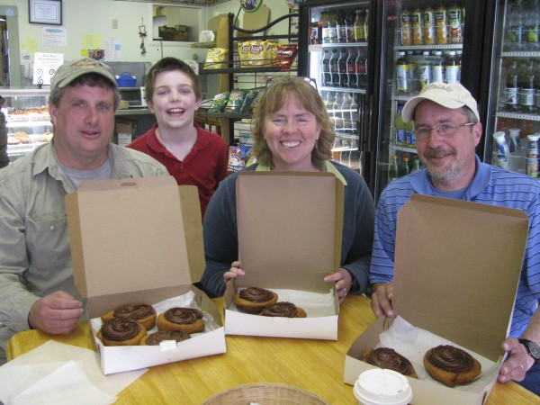 Persian bun fans Andy and Ivan Young join Alleson Bixler, all of Lincolnville and Chris Morong of Camden at Weaver's Bakery in Belfast on a recent Saturday to enjoy some fresh-baked treats.