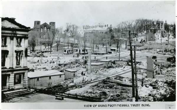"""Shack stores"" sprouted like mushrooms amidst the ruins of such buildings as the Custom House (left) and the Universalist Church (top left, overlooking Center Park) after Bangor's great fire of 1911."