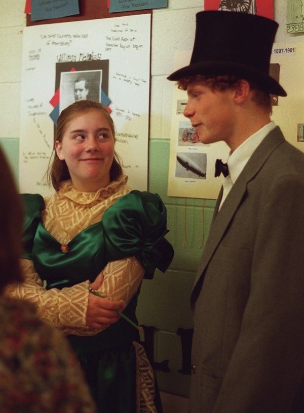Students at Warsaw Middle School in Pittsfield present exhibits in Feb. 2000 on U.S. history, with an emphasis on the presidents in recognition of Presidents Day. Emmy Wagner and Allen Thompson (from left) as President William McKinley and his wife, Ida, discuss the 1901 assassination of McKinley.