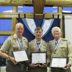 Col. James D. Campbell (from left), Robert G. Partridge and Robert G. Beauregard each received the prestigious Silver Beaver Award during the Katahdin Area Council, Boy Scouts of America, 75th Silver Beaver Recognition Dinner in Eddington.
