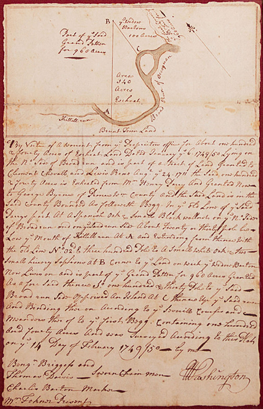 George Washington executed and signed this 1749 survey of 140 land grant acres in Virginia. Along with a historic letter, the plat sold for $101,575 recently at Heritage Auctions in Dallas.