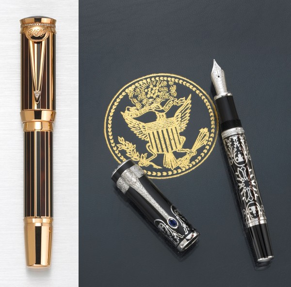 "The limited edition ""Sir Winston Churchill"" and ""George Washington"" (shown with seal) Montblanc fountain pens sold for $24,400 apiece recently at Bonhams and Butterfields Los Angeles."