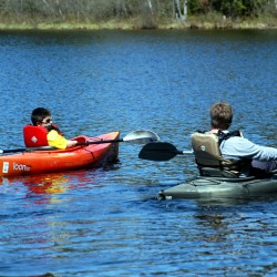Nine-year-old Brandon Tardif and I enjoy kayaking on Stump Pond a year ago.