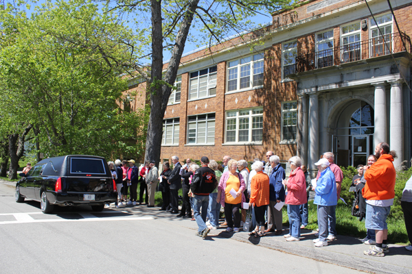 A crowd gathered outside the Lincoln Street Center - formerly the Rockland high school - on Saturday as a hearse brought the school's mascot to its final resting place: the Alumni Room. Locals said goodbye to the mascot, which will be replaced next fall when the high school combines with Georges Valley High School to become Oceanside High School. The new high school's mascot will be the mariners.