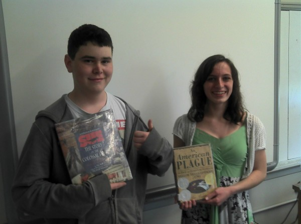 Abigail McCarty (right) earned first place, and P.J. Leclair earned third place in the Cornerstones of Science Read Write & Win contest for grade eight. Both are students at James F. Doughty School in Bangor.