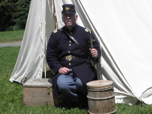 Paul D. Dudley, in the uniform of a Union soldier, with Civil War re-enactment equipment.