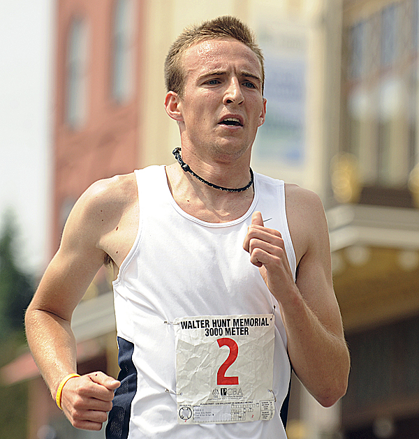 Riley Masters won the Walter Hunt Memorial Fourth of July 3K Road Race in Bangor Monday with a record-setting time of 8 minutes, 2 seconds, breaking the record of 8:10 shared by Gerry Clapper (1988) and Tim Wakeland (1987).