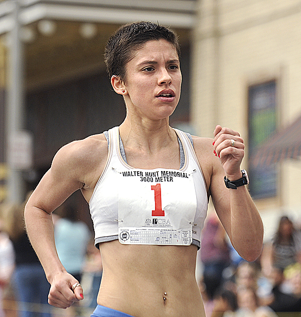 Jen Dagan was the first woman to cross the firnish line in the Walter Hunt Memorial Fourth of July 3K Road Race in Bangor Monday. She finished with a time of 9 minutes, 52 seconds.