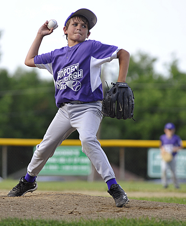 Hampden's Stanley Dillon pitches to Holbrook opponent during their Little League All-Star game at Knights of Columbus field in Old Town Tuesday afternoon, July 5, 2011.