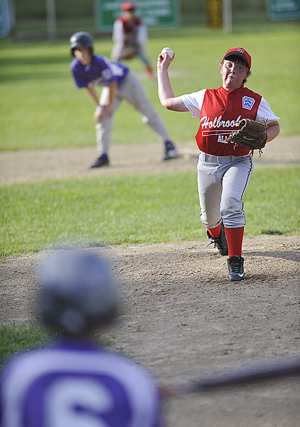 Holbrook's Nate Smith pitches to Hampden's Jacob Cyr  during the second inning of their Little League All-Star game for ages 10-11 at Knights of Columbus field in Old Town Tuesday afternoon, July 5, 2011.